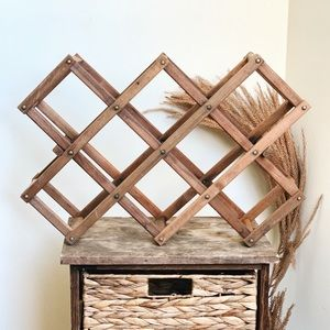 Pottery Barn Vintage Wood Collapsible Wine Rack
